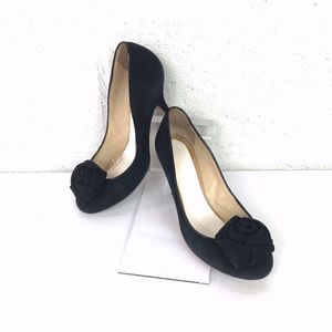 Kate Spade New York. Black Suede with a Rose Pumps
